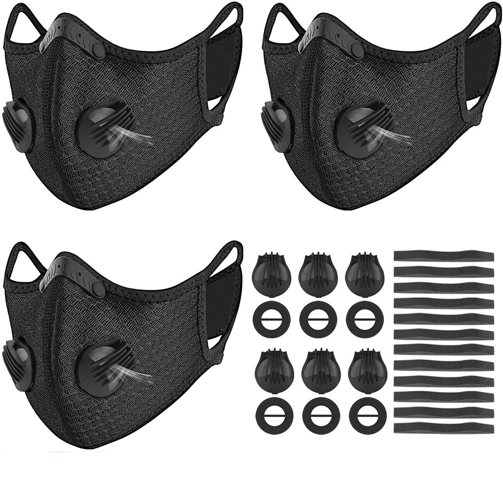 #H30 3 Pcs Sports Cycling Face Mask With 6 Breathing Valves And 12 Soft Foam Mats Anti-Pollution Breathing Valve Running Mask