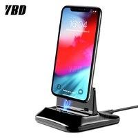 Ybd magnético desktop usb carregador doca para iphone x xs max para iphone 11 8/7 estação de carregamento carregador ímã|Carregadores de celular| |  -