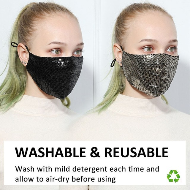 Black Sequins Mouth Mask Anti Dust Mask Windproof Mouth-muffle Bacteria Proof Flu Face Masks Washable Reuse PM2.5 Outdoor Mask 1