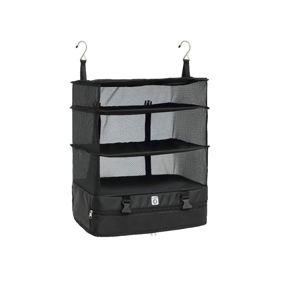 Portable Travel Storage Bag Hook Hanging Organizer Wardrobe Clothes Storage Rack Holder Travel Suitcase Shelves