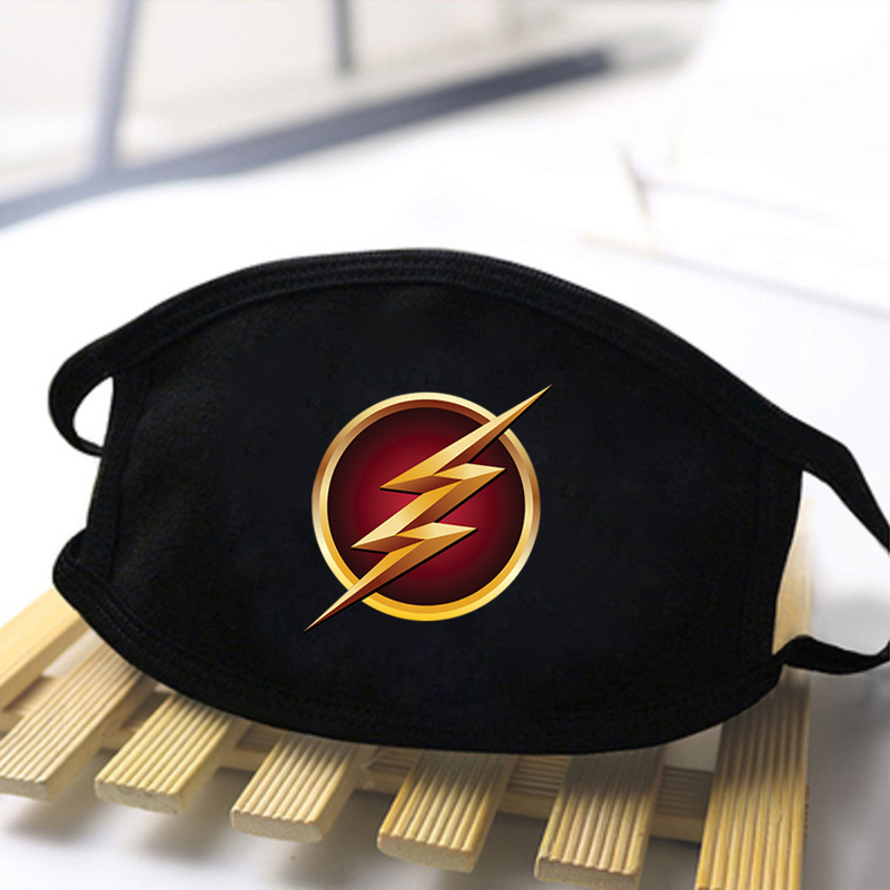 The Flash Super Hero Print Masks Unisex High Quality Soft Breathable Masks Dustproof Washable Reusable Mask Black Mouth Muffle