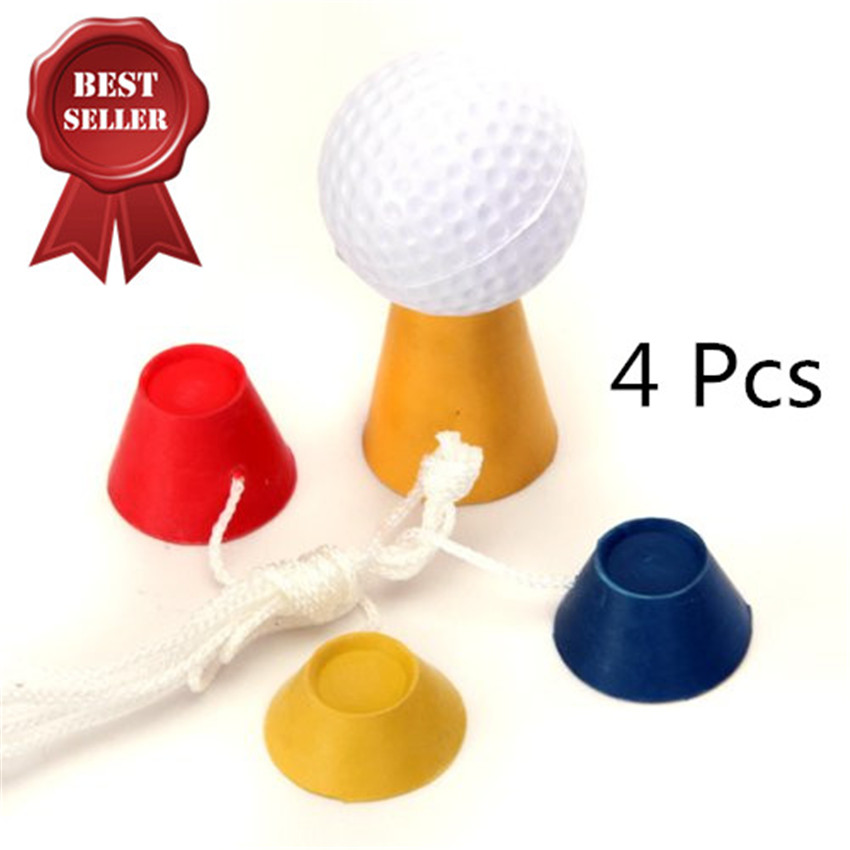 Winter Tee Golf Rubber Tees Jumbo 4 Pcs 4 In 1 Different Heights Ball Holder Golf Tee With Rope Set Sports Outdoor Accessories
