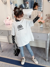 2019 Autumn Girls T Shirt Long Sleeve Childrens Clothing Letter T-shirt Casual White Cotton Teenage Tops