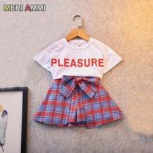 MERI AMMI комплект одежды для девочек с героями мультфильмов, футболка без рукавов с героями мультфильмов+ шорты с бантом, комплект одежды для девочек возрастом от 2 до 7 лет J517