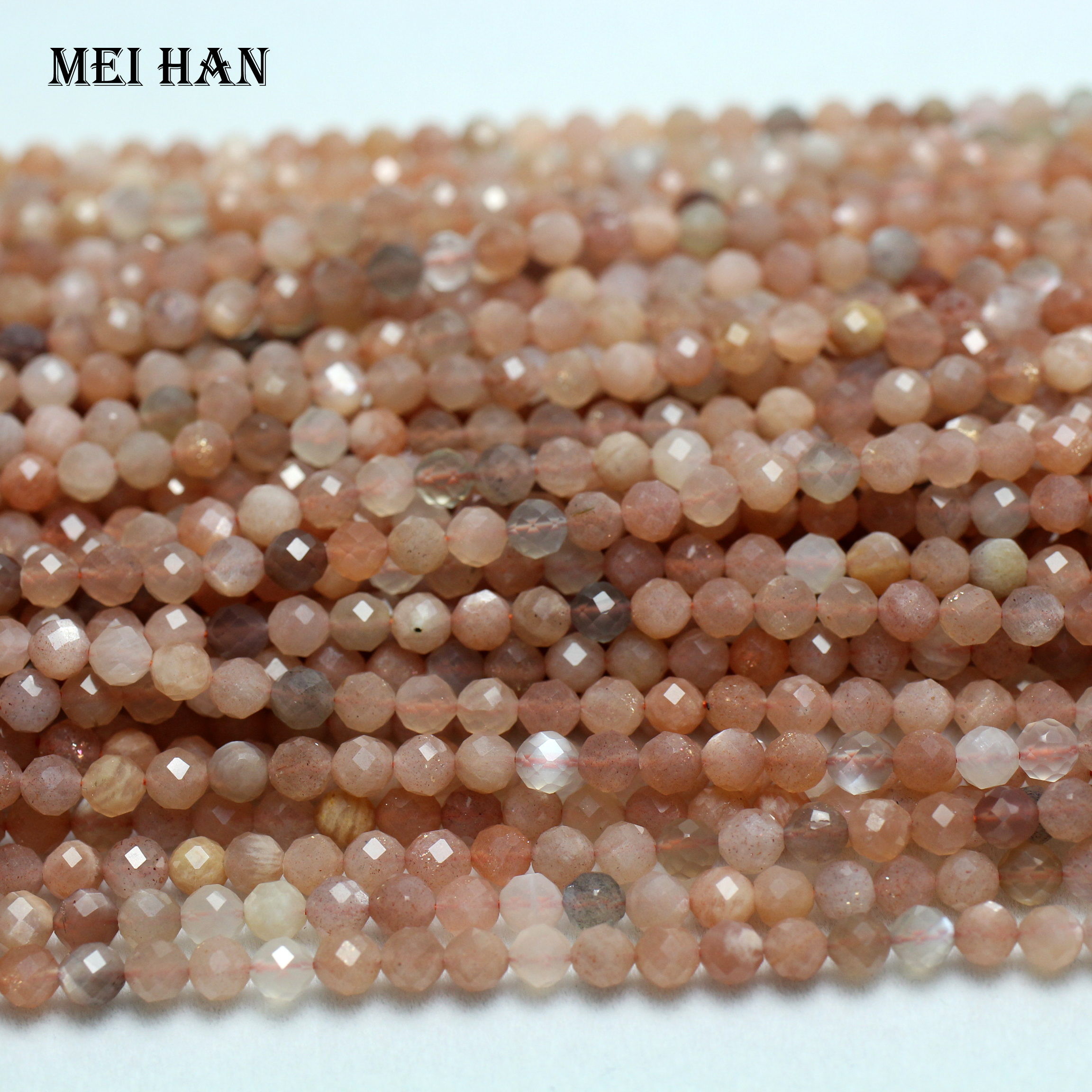 """3MM MILKY HONEY CITRINE GEMSTONE FACETED ROUND 3MM LOOSE BEADS 16/"""""""