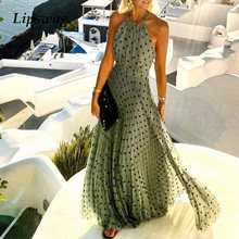 Women Sexy Halter O Neck Boho Long Dress Summer Sleeveless Pleated Maxi Party Dress Elegant Lady Polka Dot Beach Dress Vestidos