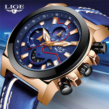 купить LIGE Mens Watches Top Brand Luxury Fashion Business Watch Men Blue Leather Waterproof Clock Quartz Wrist watch Relogio Masculino по цене 1432.24 рублей