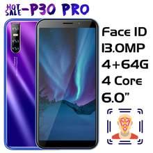 P30 Pro face id 5MP + 13MP aparat fotograficzny telefony komórkowe 6.0 cala 4GRAM + 64GROM czterordzeniowy MTK smartfony odblokowany Celulars telefon z systemem android