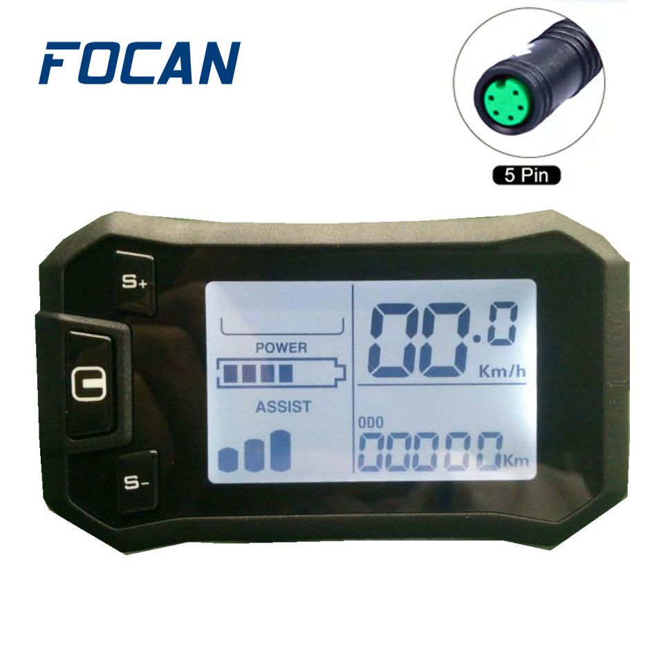 Ebike LCD Meter Display Panel With Waterproof 5pin Connector For Electric Bicycle Scooter
