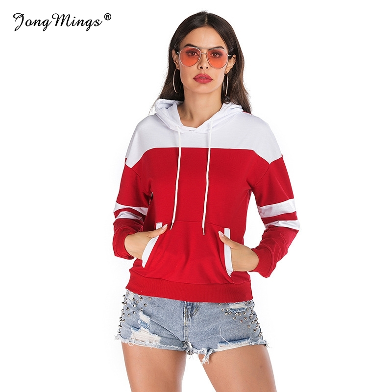 2019 Autumn Women Sweatshirts White Red Patchwork Hoodies Warm Harajuku Hooded Long Sleeve Lady Sport Pullovers Fitness Tops