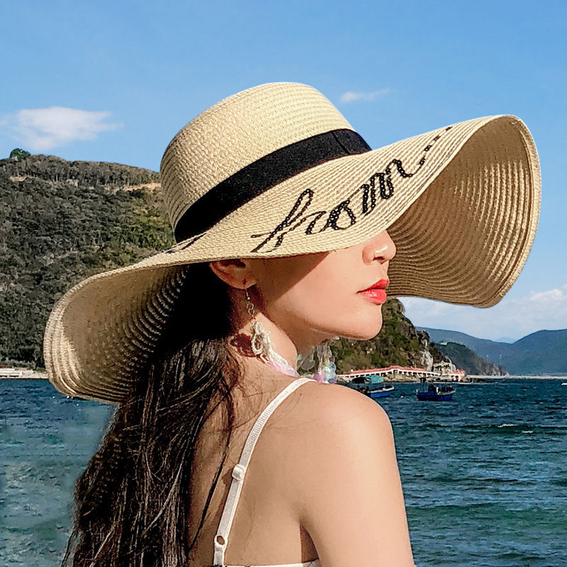 Summer Wide Big Brim Straw Hats Letter Sun Hats For Women UV Protection Panama Beach Hats Ladies Floppy Hat Chapeau Femme