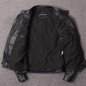 Image 5 - Darmowa wysyłka. Styl Vintage męskie ubrania ze skóry wołowej, wysokiej jakości skórzana kurtka dla motocyklisty, moda czarne prawdziwa skóry płaszcz. homme slim,