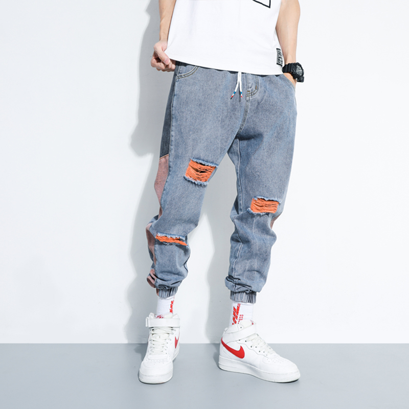 Shattered Jeans Men's Fashion Washed Contrast Casual Jean Pants Men Streetwear Loose Hip Hop Trousers Pants Mens M-5XL