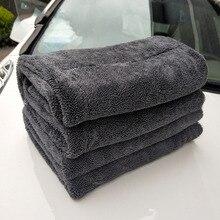 Çift taraflı mikrofiber büküm yıkama havlusu profesyonel süper yumuşak temizlik kurutma bezi havlu araba yıkama parlatma ağda