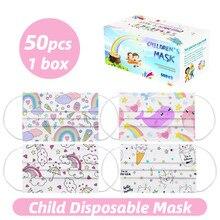 50 pces crianças criança descartável dos desenhos animados máscara boca 3 camada respirável meninas das crianças não tecidos máscara grossa quente rosto earloop máscara