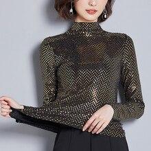 جديد 2020 ربيع المرأة البلوزات نصف سلحفاة الرقبة موضة الترتر المطرزة طويلة الأكمام موضة عادية قميص حجم كبير 3XL 314Bبلوزات وقُمصان