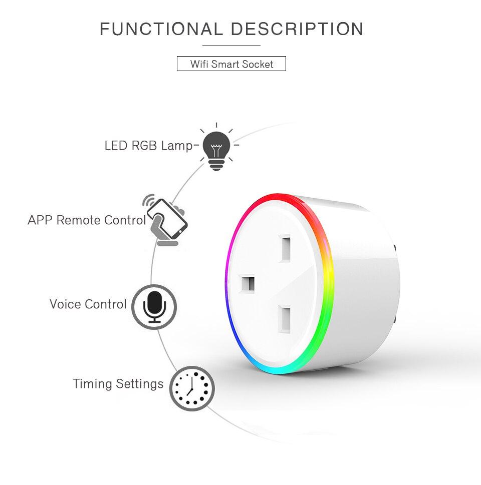 Outlet Plug Socket Tuya APP Voice Remote Control RGB Wireless Power Socket Support Alexa Google HomeEU US UK AU Wifi Smart Home