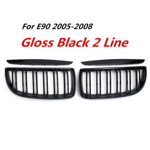Image 2 - BMW E90 E91 4 도어 용 2005 2006 2008 4 색 쌍 전면 광택 매트 카본 컬러 블랙 2 라인 더블 슬랫 신장 그릴 그릴