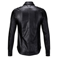 2020 New Slim Fit Men Motorcycle Biker Leather Shirts Coats Male Black Fashion Pockets PU Shirts Tops Autumn Casual Men Clothes