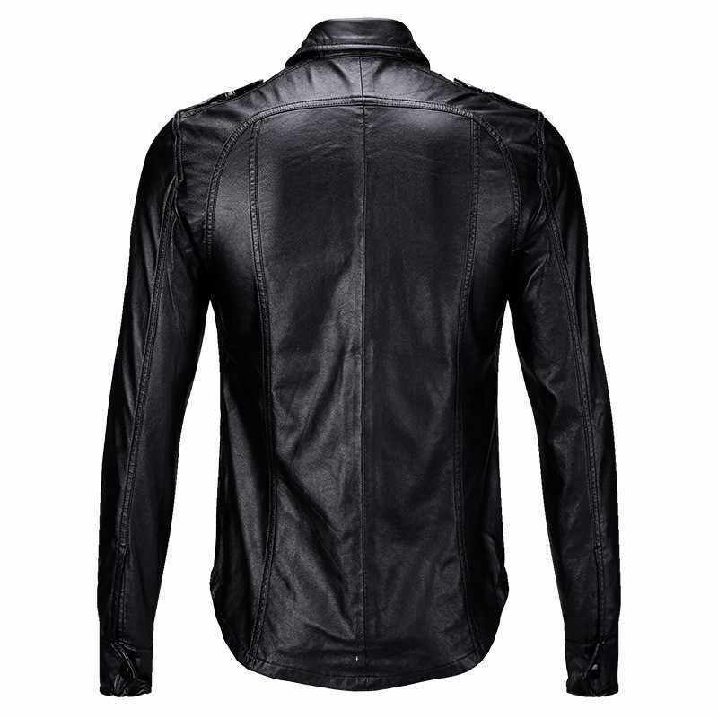 2020 nueva Slim Fit los hombres chaqueta de cuero estilo motorista camisas Abrigos Hombre de moda negro bolsillos camisetas pu Tops Casual de otoño ropa