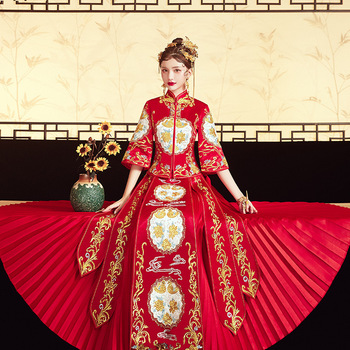 High Quality Embroidery Phoenix Women Bride Wedding Dress Satin Vintage Button Cheongsam Oriental Classic Tang Suit Vestidos