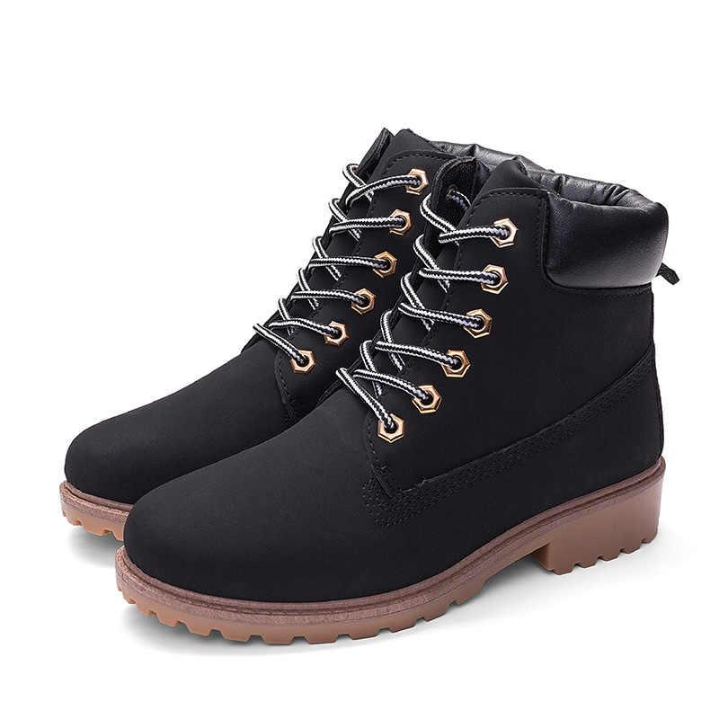 Botines de mujer calientes botas de camuflaje Martin para las mujeres zapatos de felpa caliente mujeres botas de invierno mujeres botines de talla grande 42