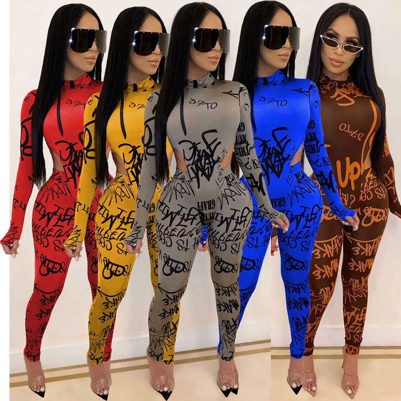 Women's Two Piece Jumpsuit Casual Clothes Fashion Letter Printed Long Sleeve and Elastic High Waist Trousers