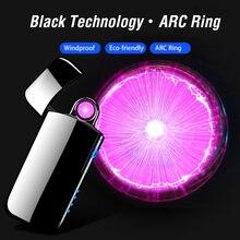 2020 Spinning Plasma Arc Cigarette Lighter Mens Gift USB Ele