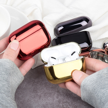 Plating Earphone Case For Airpods Pro Hard PC Wireless Bluetooth Headphone Protection Case For Apple Air Pods Charging Box Cover electroplate pc shining plating case for airpods 2 1 portable earphone protect earphone protective cover for apple air pods pro