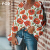 FORUDESIGNS Large Size Colorful Flower Pattern Tops and Blouses Casual Loose V-Neck Shirts Female Clothes 2