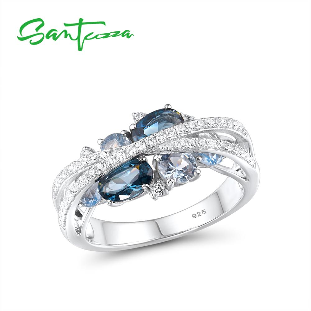 SANTUZZA Silver Rings For Women Genuine 925 Sterling Silver Shimmering Blue Spinel Cubic Zirconia Trendy Luxury Fine Jewelry