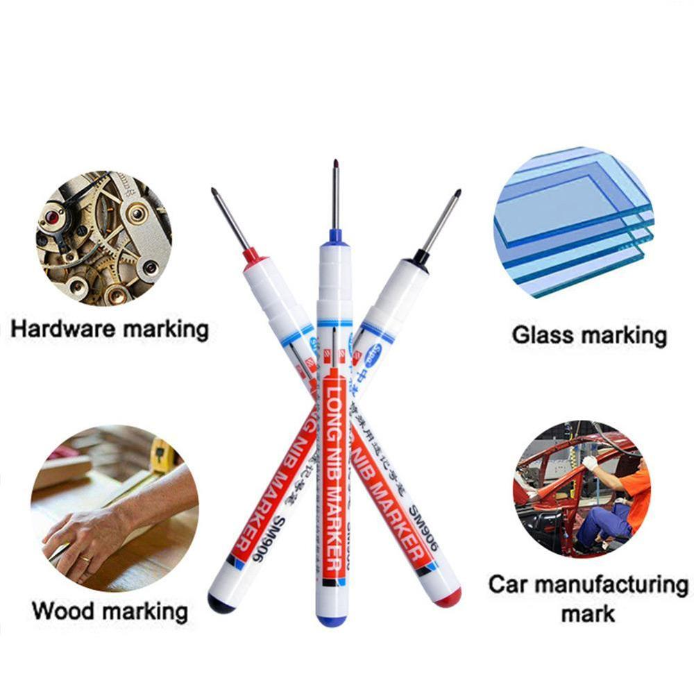 Long Head Markers Bathroom Woodworking Decoration Multi-purpose Deep Hole Marker Pens