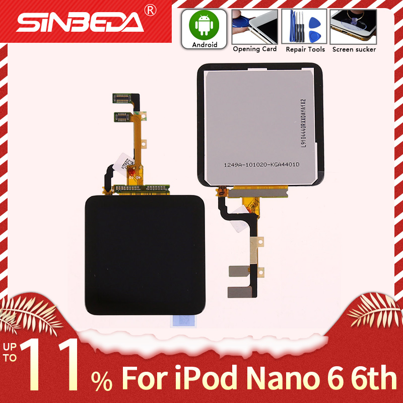 Sinbeda For iPod Nano 6 6th LCD Display Touch Screen with Digitizer Assembly For iPod nano6 Nano 6th Display LCD with Free Tools(China)