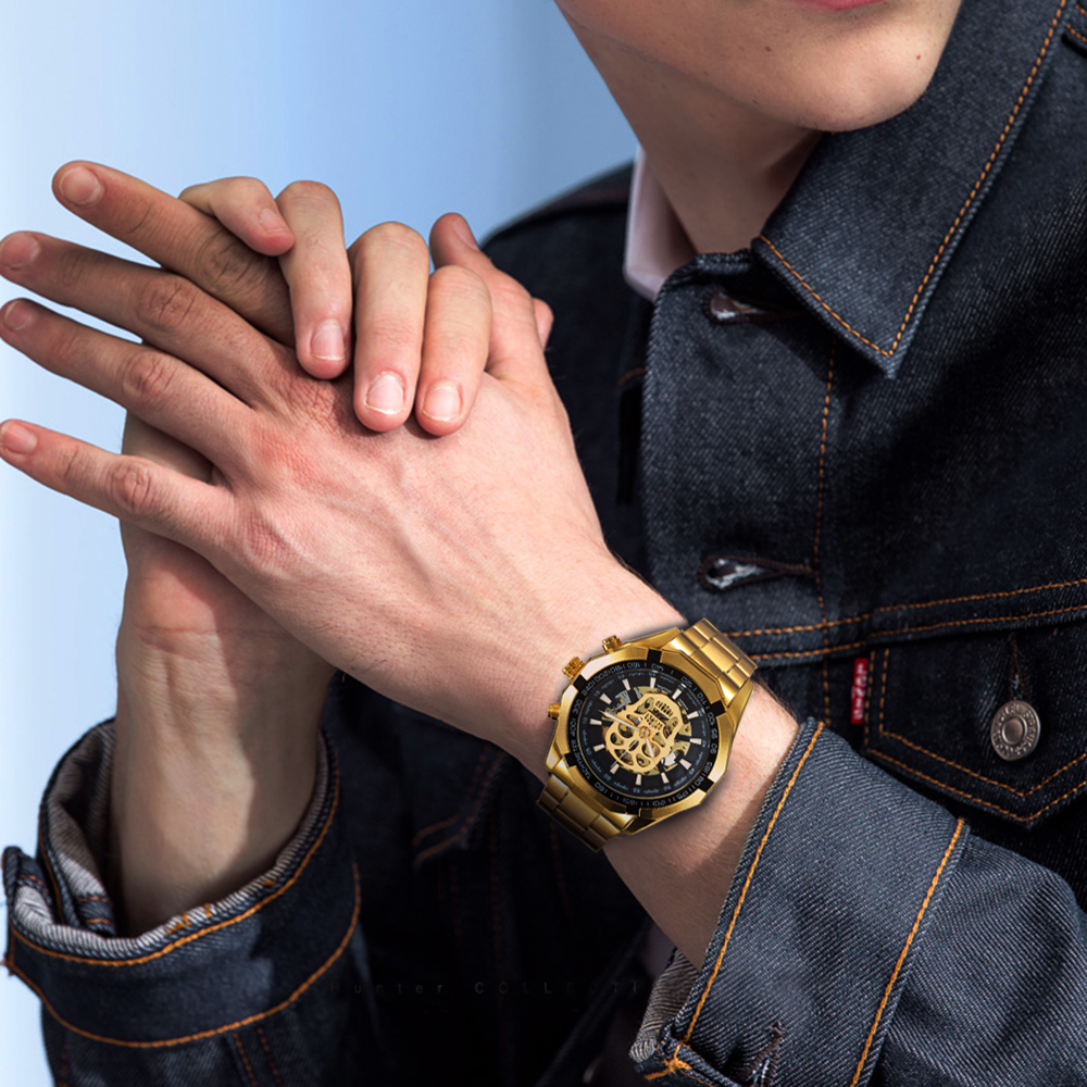 Habad176ebc9d424eb3b333cbb16cf9333 WINNER New Fashion Mechanical Watch Men Skull Design Top Brand Luxury Golden Stainless Steel Strap Skeleton Man Auto Wrist Watch