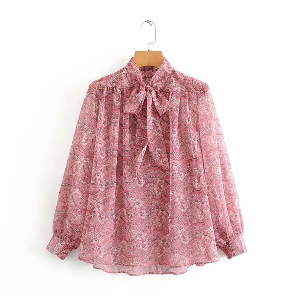 New Women Vintage Totem Paisley Printing Casual Chiffon Blouse Shirts Women Business Femininas Blusas Chic Femininas Tops LS6422