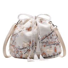 New 2020 Mori Satchel Canvas Cross Body Bag  Chinese Style Fairy Purse Han Fu Ancient One Shoulder