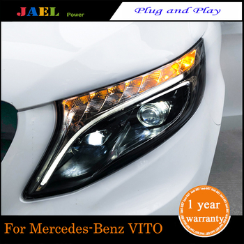 цена на JAEL LED Headlight For  VITO 2016-2019Year Headlights LED DRL Running lights Bi-Xenon Beam lights angel eyes