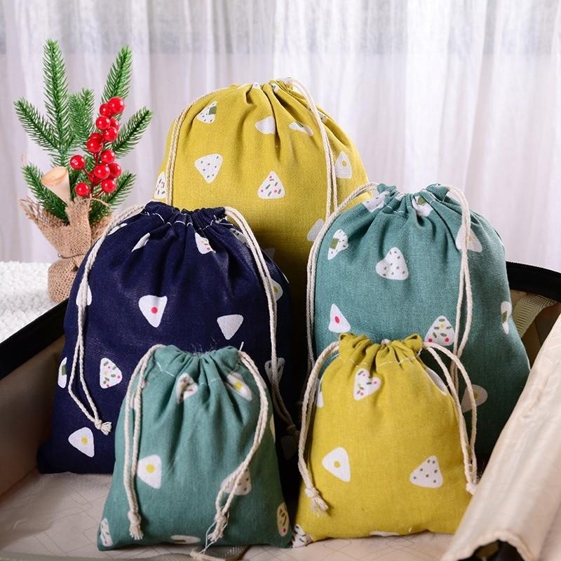 1pcs Printed Cotton Linen Cloth Bag Pouch Cortoon Handmade Storage Package Drawstring Tea Bags Small Coin Purse Travel Women