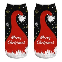 Best Selling Ladies Christmas Socks 3D Santa Cartoon Printing Elk Happy New Year Gift Kawaii Girl Cute Low Help