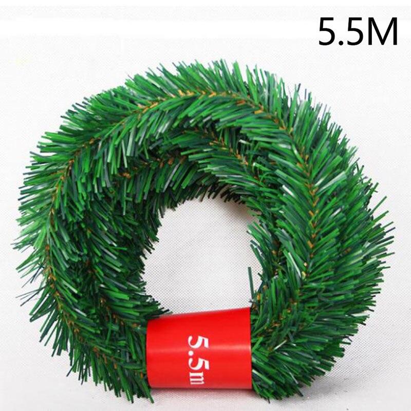 5,5 м сосновые иголки из ротанга лоза Рождественский кулон-украшение украшения Xmas вечерние висит мишура зеленый лист сад Xmas