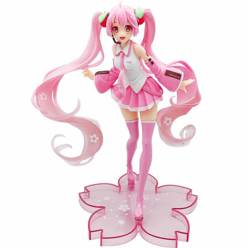 20cm Hatsune ורוד Miku סאקורה PVC פעולה איור אנימה Vocaloid יפני פסלון אספנות דגם ילדים צעצועי מתנה SA3209