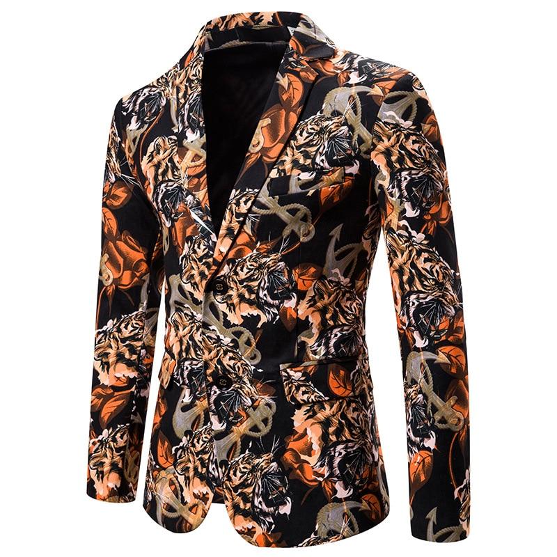 Mens Hipster Baroque Floral Blazer Jacket Slim Nightclub Party Blazer Masculino Wedding Tuxedo Blazer Men Stage Singer Clothes