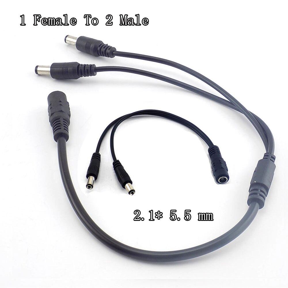 Cable divisor de 1 hembra a 2 macho 2,1*5,5 Mm divisor de energía Dc Cable 12V para cámara de vigilancia Cctv A7Transmisión y cables   -
