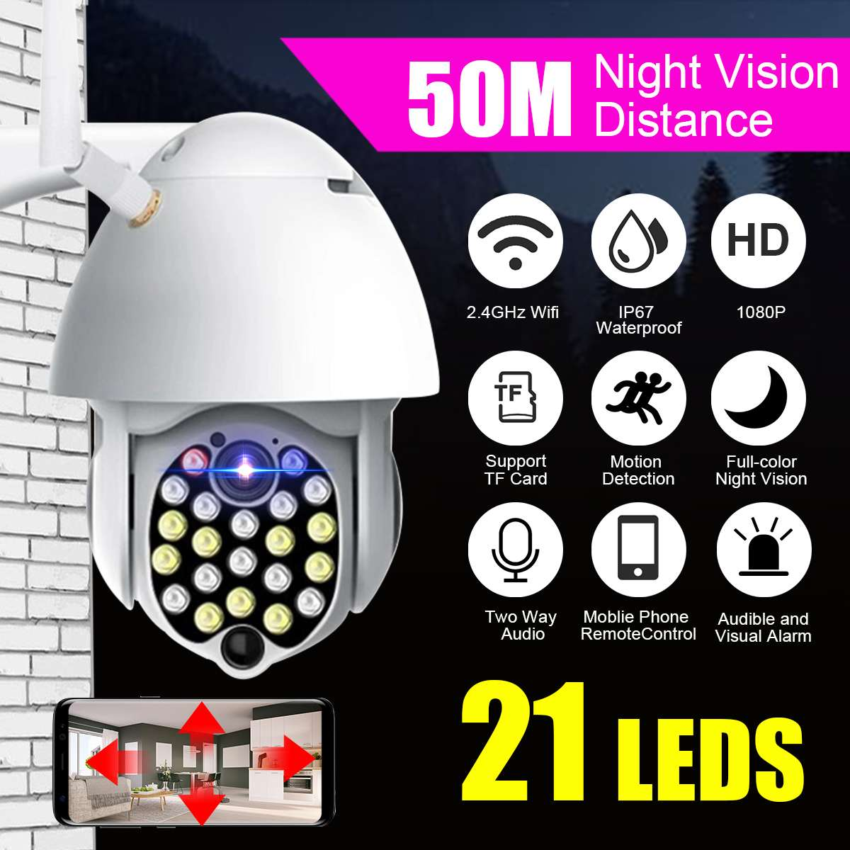 21LED Zoom IP Camera PTZ Outdoor Waterproof Speed Dome CCTV Camera 2MP Surveillance PTZ Camera Wifi Camera 1080P Security Camera
