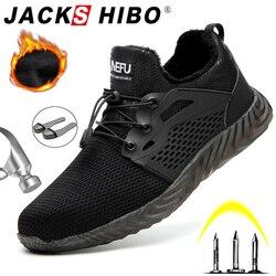 JACKSHIBO ZAPATOS DE TRABAJO DE SEGURIDAD botas para hombres botas de seguridad de acero para hombres