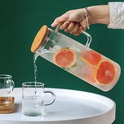 Jarro de água chaleira de água 1.2l 1.5l chaleira de água de vidro pote de água fria lidar com chaleira de água transparente resistente ao calor