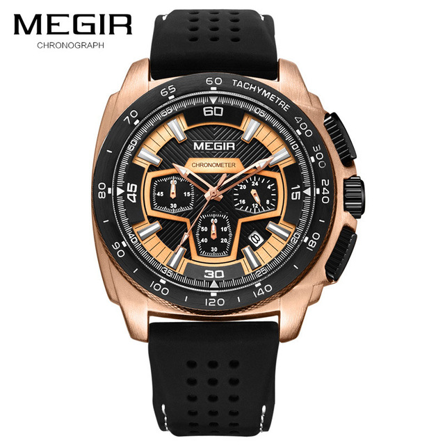 MEGIR Men Sport Watch Chronograph Silicone Strap Quartz Army Military Watches Clock Men Top Brand Luxury Male Relogio Masculino | Fotoflaco.net