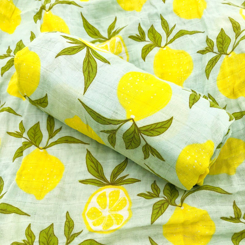 Lemon Newborn Muslin 100% Cotton Soft Baby Multi-use Big Diaper Blanket Swaddling Blankets Bedding Swaddle Wrap Bath Towel