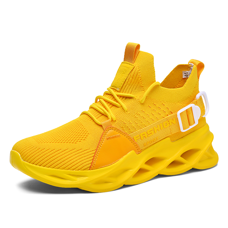 G133 Yellow-Outdoor Men Sports Shoes High Quality Lace-up Breathable Sneakers
