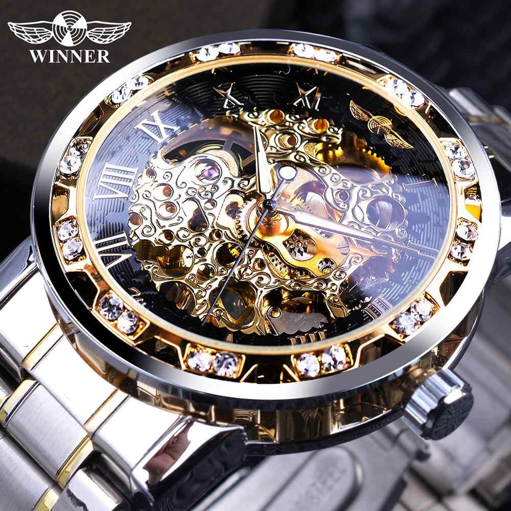 Gewinner Transparent Mode Diamant Leucht Getriebe Bewegung Royal Design Männer Top Marke Luxus Männlichen Mechanische Skeleton Armbanduhr
